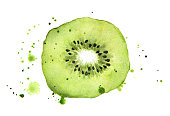 Kiwi slice with splashes isolated on white background. Watercolor food illustration, art painting