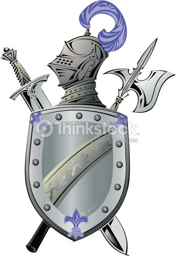 Knights Helmet Shield And Sword Grouped Elements Color ...