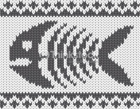Knitted Pattern With Fish Skeleton Vector Art Thinkstock