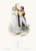 Vintage engraving of La Folie de Jour during the Directorie, 1798. Modes et costumes historiques 1864