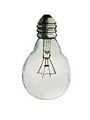 Lamp, hand drawn watercolor illustration