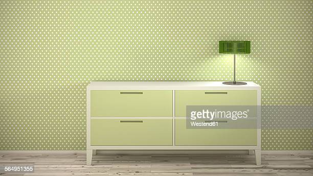 Lamp on sideboard at dotted wallpaper, 3d rendering
