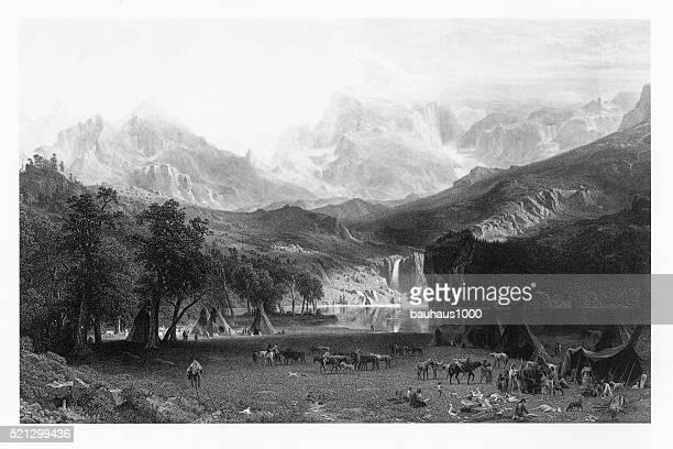 Lander's Peak in the Colorado Rocky Mountains Victorian Engraving