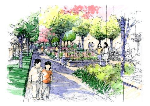 Landscape garden sketch series 09 stock illustration for Landscape and garden design sketchbooks