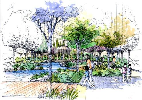 Landscape garden sketch series 12 stock illustration for Landscape and garden design sketchbooks