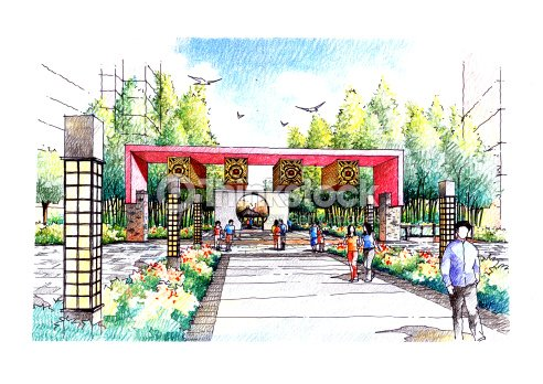 Jardin paysager croquis s ries de 20 illustration thinkstock for Croquis jardin paysager