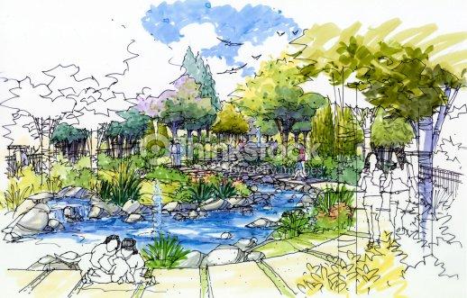 Jardin paysager croquis series 23 illustration thinkstock for Croquis jardin paysager