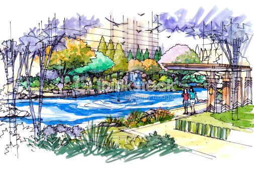 Jardin paysager croquis s rie de 28 illustration thinkstock for Croquis jardin paysager