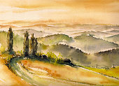 Landscape with wineyards at sunset in South Styria watercolors painted.
