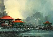 landscape of beautiful harbor,fishing village,digital painting