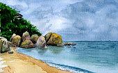 Sea landscape in Samui. Watercolor background for design