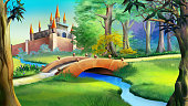 Landscape with Fairy tale castle in a forest and small bridge over the blue river. Digital painting background, Illustration in cartoon style character.