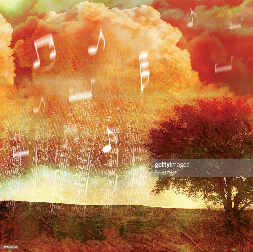 Landscape with Musical Notes : Stock Illustration