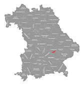 Landshut city red highlighted in map of Bavaria Germany