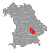 Landshut county red highlighted in map of Bavaria Germany