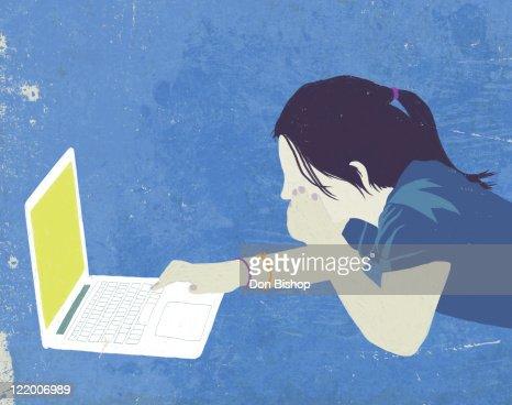 Laptop girl graphic illustration : Stock Illustration