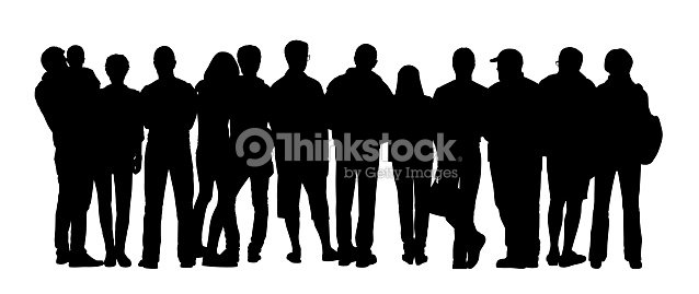 Large Group Of People Silhouettes Set 4 Stock Illustration ...