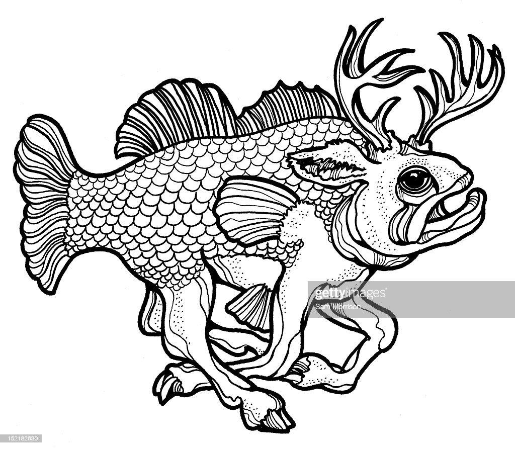 Large mouth bass mash up : Stock Illustration