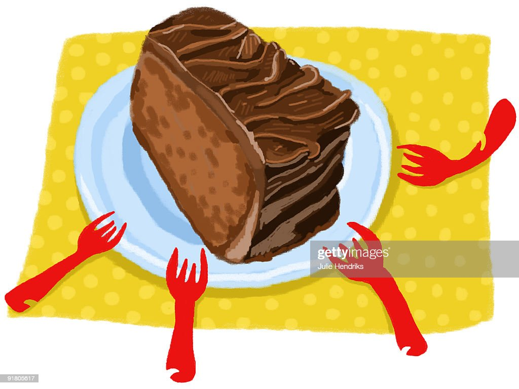 A large piece of chocolate cake and four forks : Stock Illustration