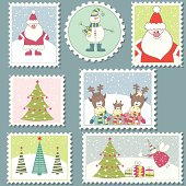 Large Set of colorful Christmas Postage stamps.Vector illustration