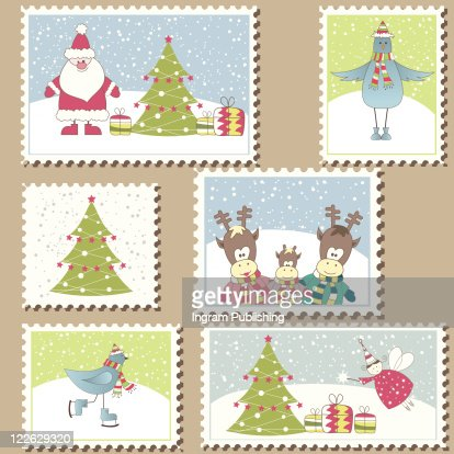 Large Set of colorful Christmas Postage stamps.Vector illustration : Arte vectorial