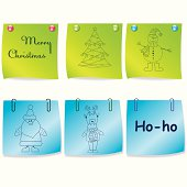 Large Set of colorful note paper.Vector illustration
