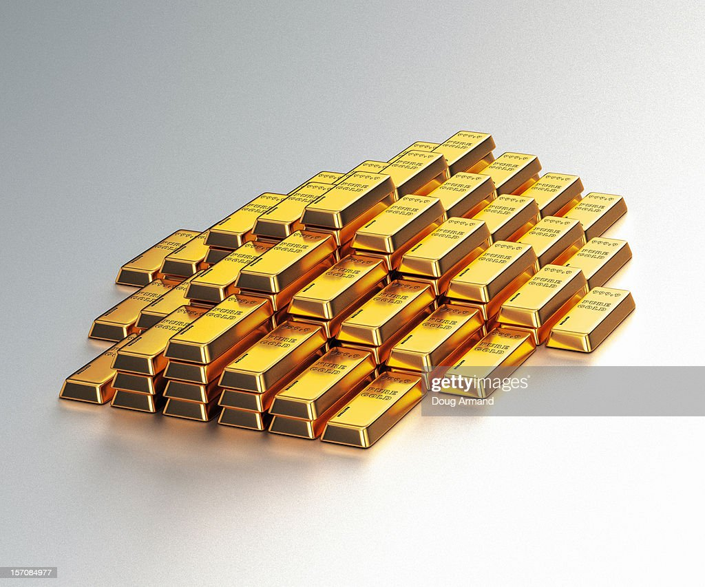 A large stack of gold bars on a white background : Stock Illustration