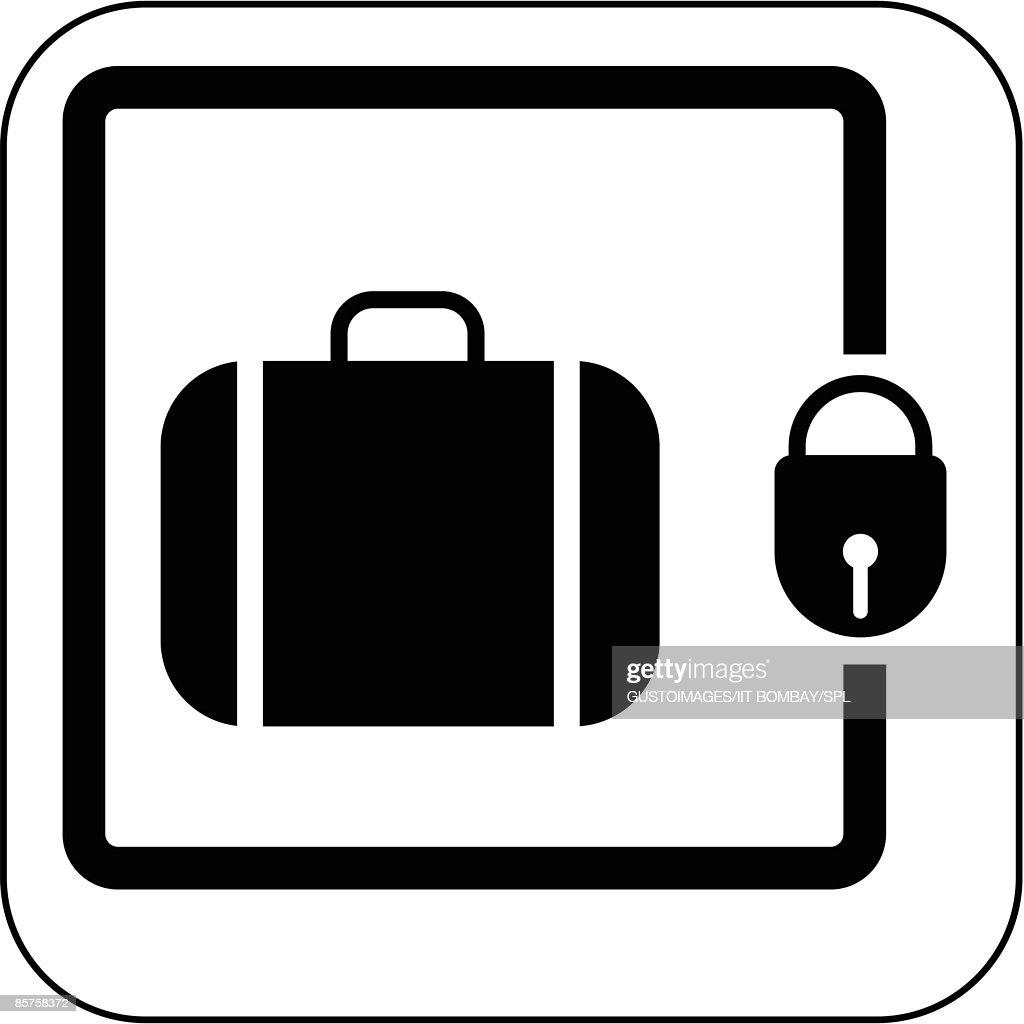 Left luggage symbol against white background : Stock Illustration