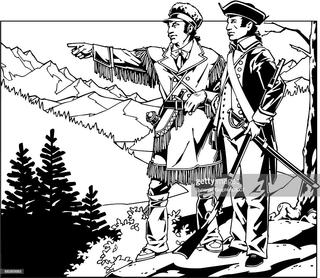 lewis and clark standing on a mountain pointing vector art thinkstock rh thinkstockphotos in Lewis and Clark Ship lewis and clark free clipart