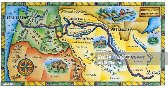 lewis clark expedition map stock illustration ty images