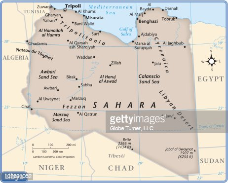 Libya Country Map Vector Art Getty Images - Map of egypt libyan desert