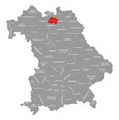 Lichtenfels county red highlighted in map of Bavaria Germany