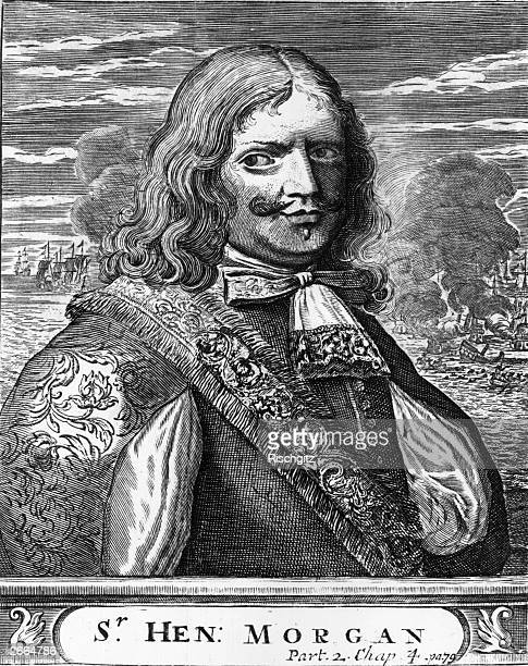 Lieutenant Governor of Jamaica and former pirate and buccaneer Henry Morgan circa 1680 In the background are ships in combat Esquimelin 'Lives of the...