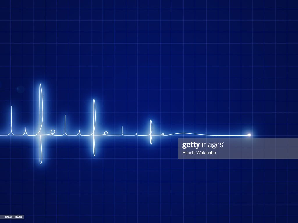 ' Life ' written with heart rate graph : Stock Illustration