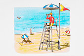 Lifeguard looking through binoculars at swimmer in distress