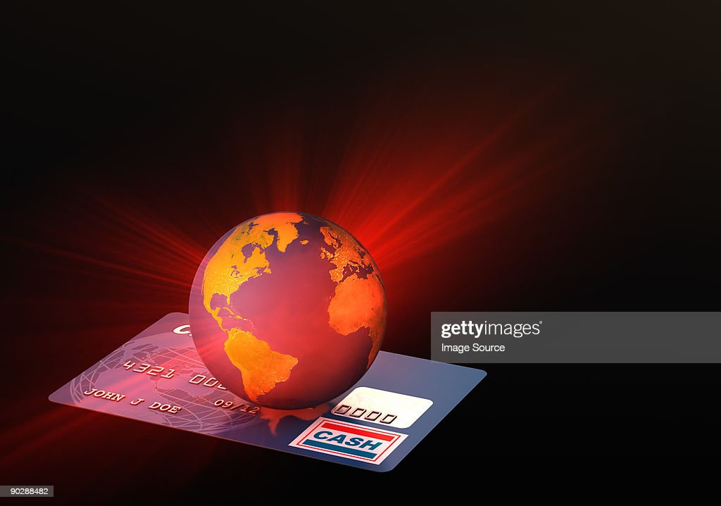 Light coming from globe on credit card : Stock Illustration