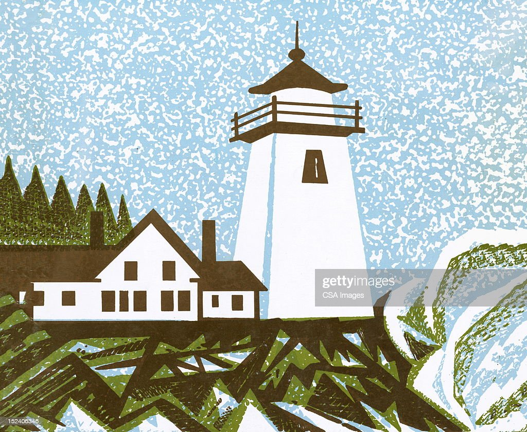 Lighthouse and House : Stock Illustration