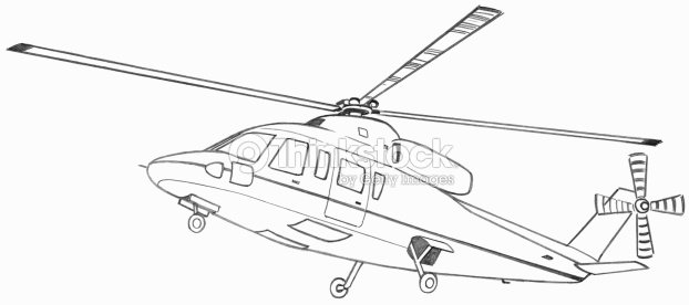 Line Drawing Helicopter : Line drawing of a helicopter in flight stock illustration