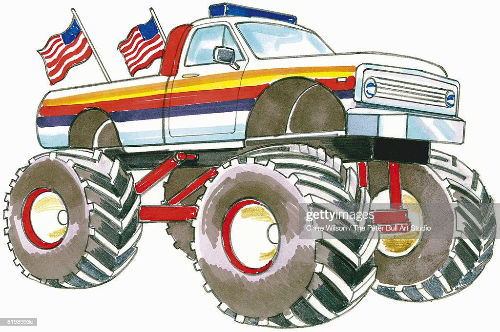 Line drawing of a monster truck : Stock Illustration