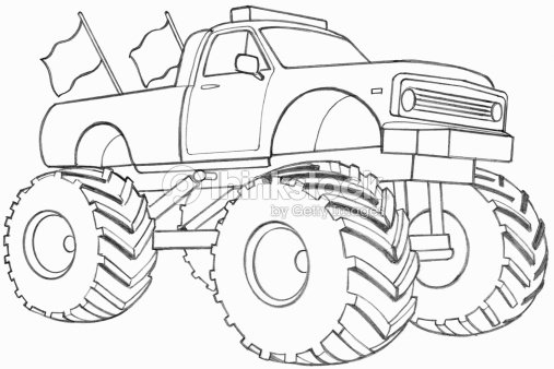 Line Drawing Truck : Line drawing of a monster truck stock illustration