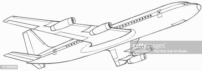 Line Drawing Of A Passenger Plane