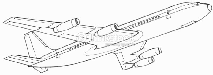Line Drawing Jet : Line drawing of a passenger plane stock illustration