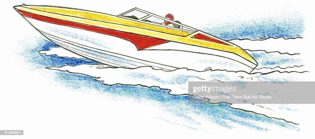 Line Drawing Boat : Line drawing of a speed boat stock illustration getty images