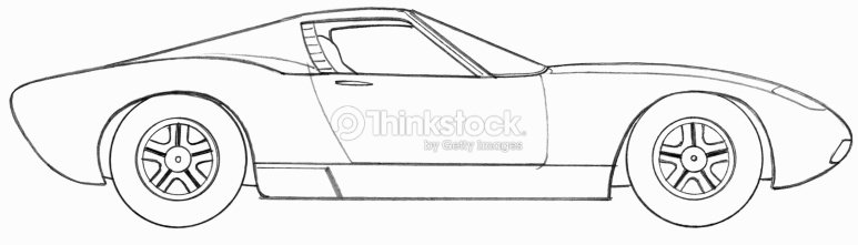 Line drawing of a sports car side view stock illustration