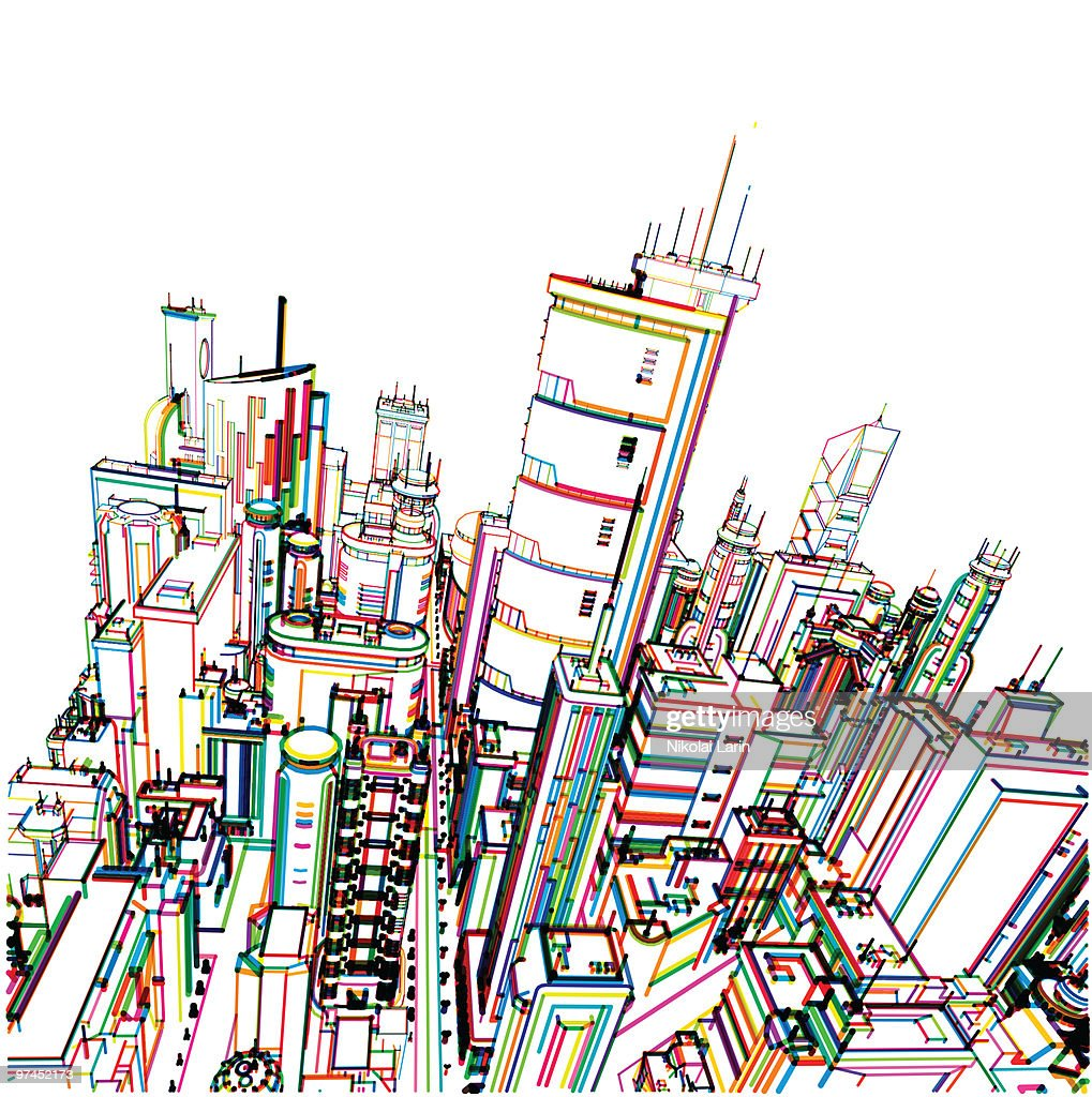 A line drawing of a thriving city in an array of colors : Stock Illustration