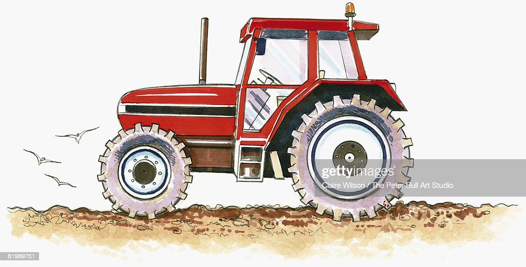 Line Drawing Tractor : Line drawing of a tractor side view stock illustration