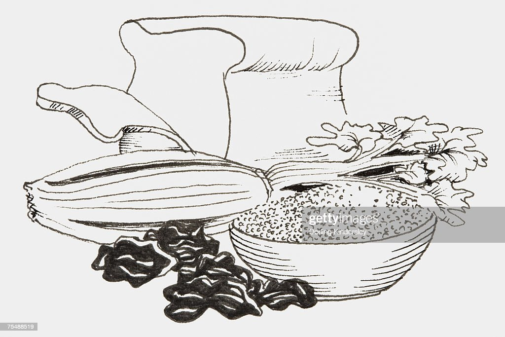 Line Art Food : Line drawing of foods that provide fiber including bread