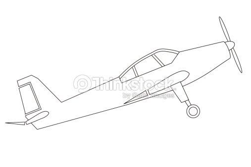 line drawing of plane stock illustration