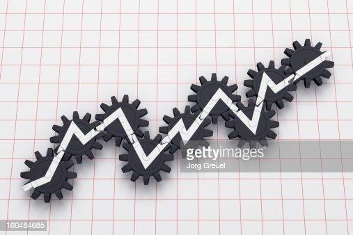 Line graph on cogwheels : Stock Illustration
