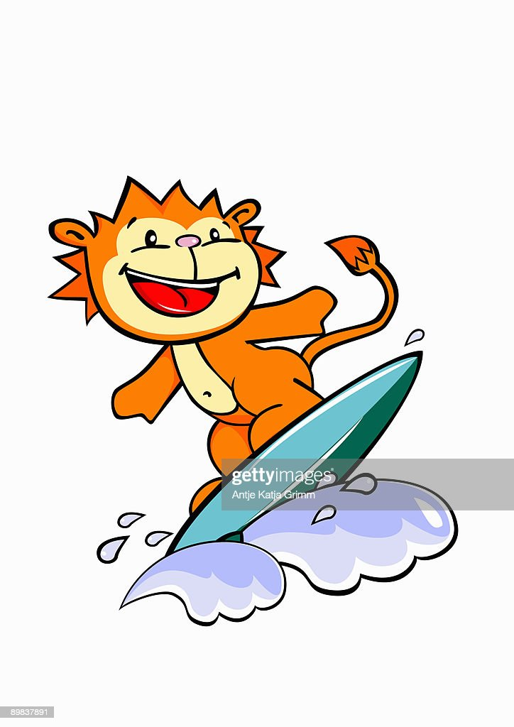A lion surfing : Stock Illustration